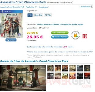 assassin creed chronicles pack compilation retail boite physique ps4 one psvita leak site spanish espagnol