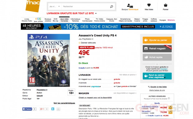 Assassin s creed unity vente flash fnac