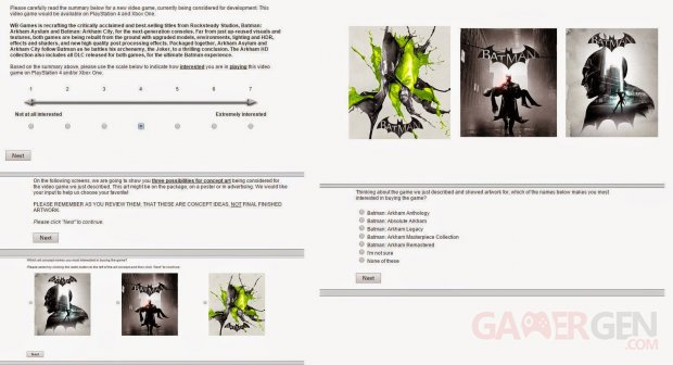Batman Arkham Remastered 23 05 2015 sondage leak