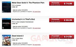 canada dollar jeux video augmentation prix price videogames rise cinq 5 dollars canadien canadian 75 dollars ebgames metal gear solid 5 mgs5 mgsv dead island 2