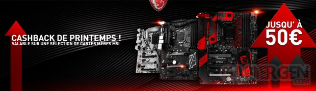 cartes mères fabricant MSI cashback