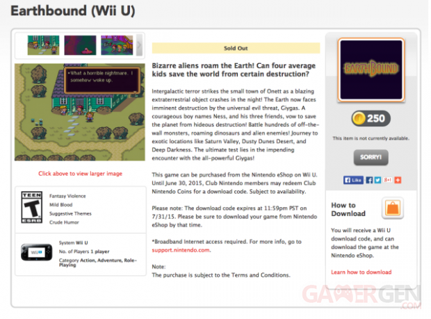 Club Nintendo rupture Earthbound