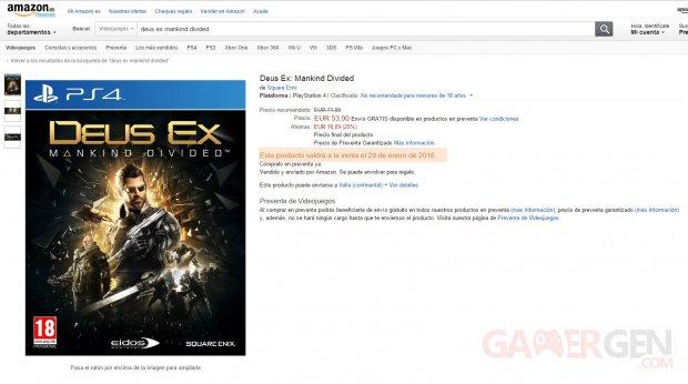 Deus Ex Mankind Divided Date de Sortie Amazon Espagne