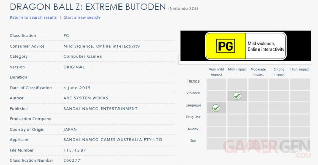Dragon Ball Z Extreme Butoden classification