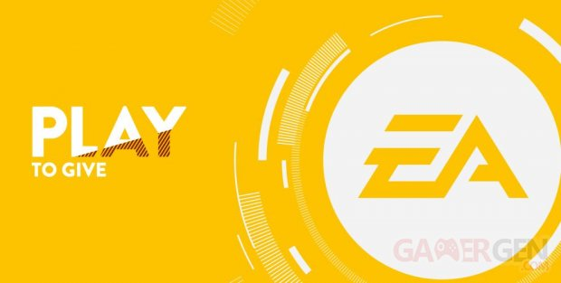 Electronic Arts logo EA head banner Play to Give