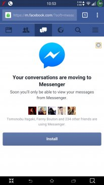Facebook Messenger message installation forcee