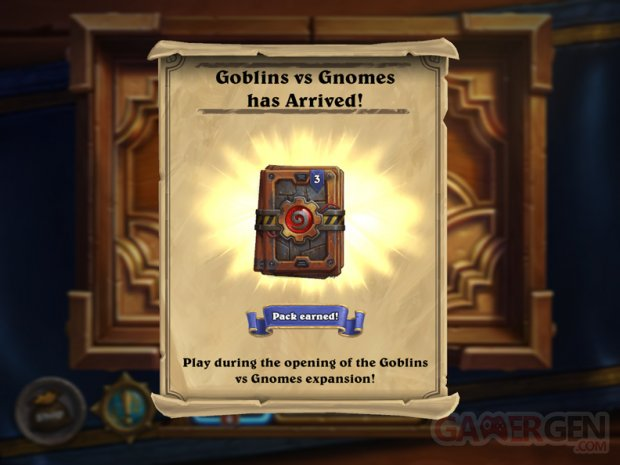 hearthstone gobelins gnomes paquets boosters gratuits
