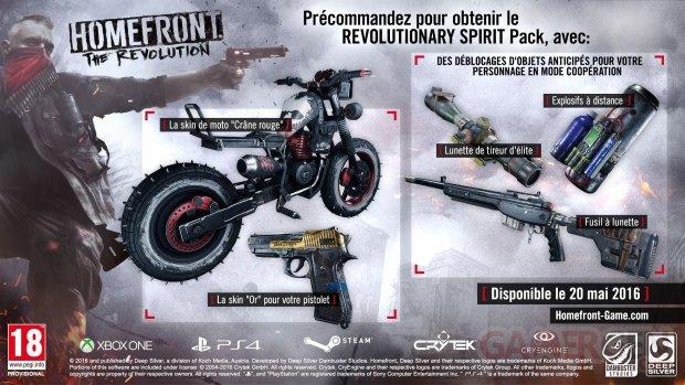 Homefront Revolution Bonus Précommande HFTR Revolutionary Spirit Pack