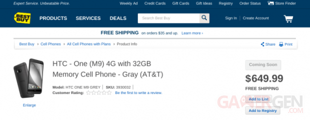 htc one m9 best buy prix dollars