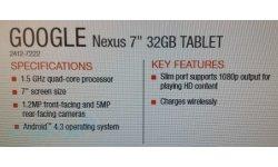 Informations Spécifications Caractéristiques Fuite Nexus 7 2