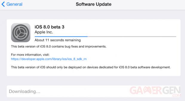 iOS 8 0 beta 3
