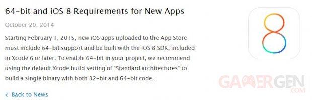 ios 8 obligation developpeurs apple