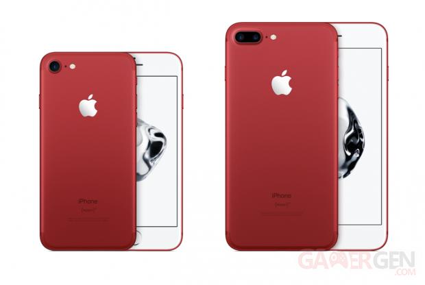 l 39 iphone 7 et l 39 iphone 7 plus se parent de rouge pour la. Black Bedroom Furniture Sets. Home Design Ideas
