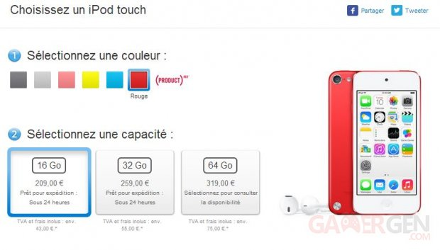 ipod touch 5g rouge isight