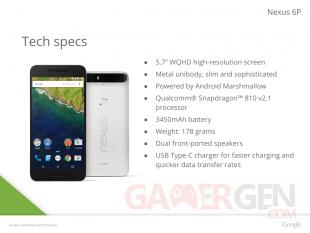 Nexus 6P Caractéristiques Fuite