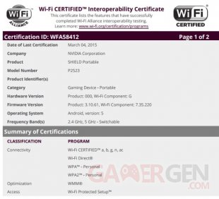 nvidia shield P2523 certification wifi