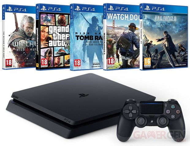 Pack PS4 + Final Fantasy XV + Watch Dogs 2 + Rise of the Tomb Raider + GTA V + The Witcher 3
