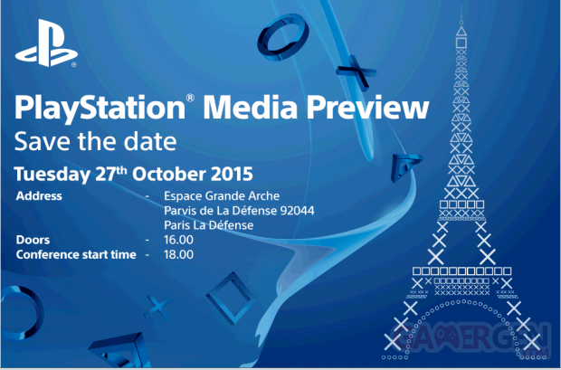 PlayStation Media Preview invitation Paris Games Week 2015