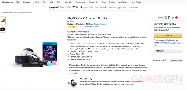PlayStation VR Launch Bundle Amazon