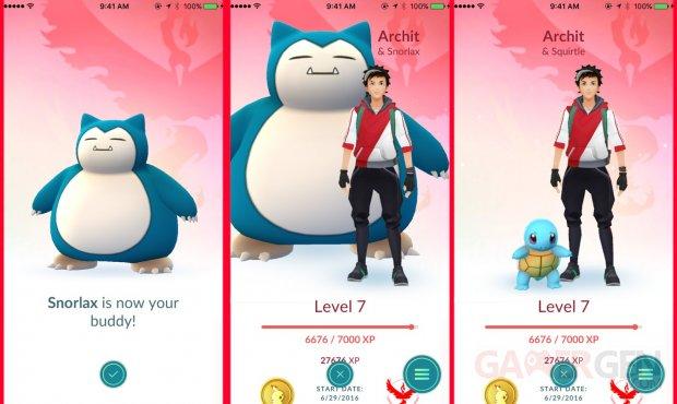 Pokémon GO Copain MAJ jeu screen