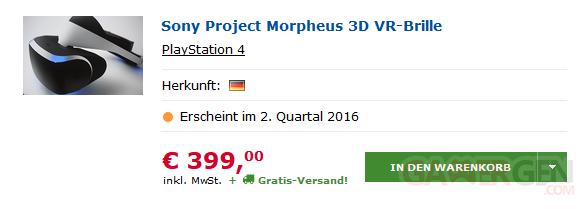 Project Morpheus prix