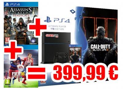 BON PLAN , Pack PS4 (1 To) Call of Duty Black Ops III + FIFA 16 + AC Syndicate à 399,99 \u20ac , GAMERGEN.COM