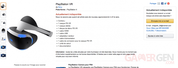 PS VR Amazon rupture de stock