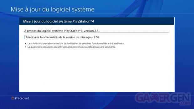 PS4 mise a? jour 2.51