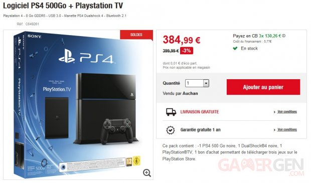 bonplan xbox one et pack ps4 playstation tv prix cass s gamergen com. Black Bedroom Furniture Sets. Home Design Ideas
