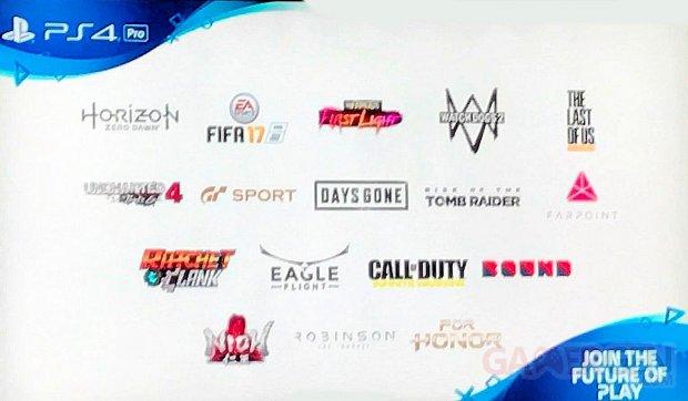 PS4 PRo sorties jeux compatibles liste images