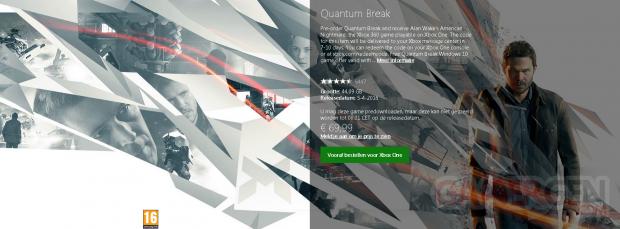 quantum break taille xboxone