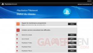 Sony PSN statut reseau panne