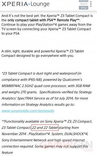 sony xperia lounge Xperia Z2 and Z2 Tablet PS4 Remote Play