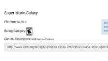 Super Mario Galaxy Wii U ESRB
