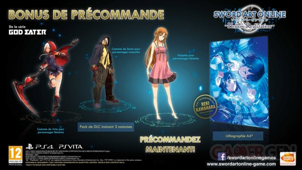 Sword Art Online Hollow Realization bonus précommande
