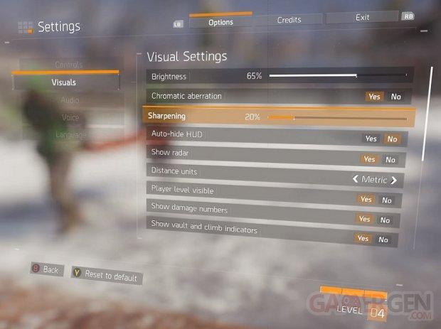 The Division options visuelles