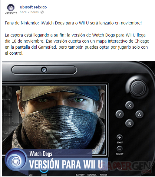 Ubisoft Mexico Watch Dog Wii U