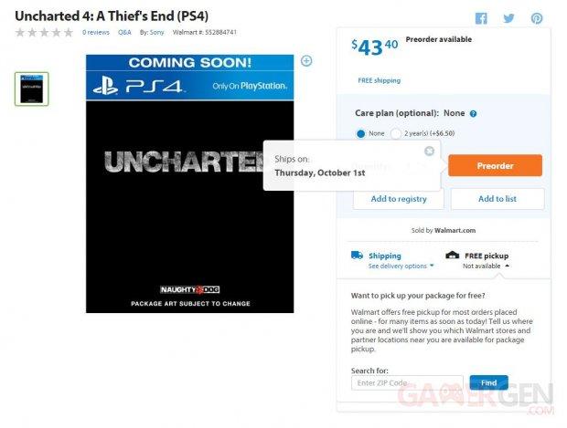 uncharted 4 date walmart