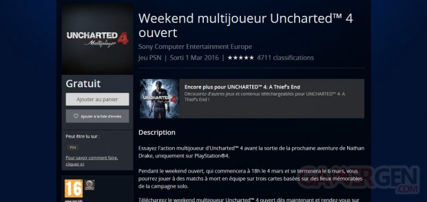 Uncharted 4 week end beta multijoueur