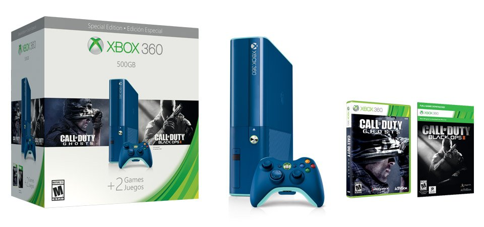 Pack xbox 360 Bleu + 2 Call of Duty ... Xbox-360-special-edition-blue_03C001C200781630