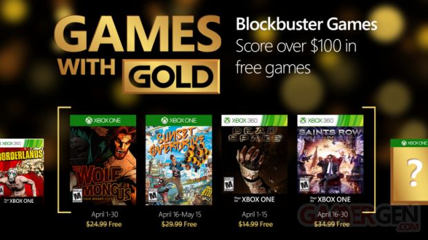 Xbox Live Games With Gold avril 2016