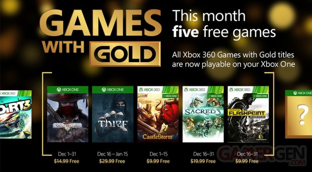 Xbox Live Games with Gold décembre 2015