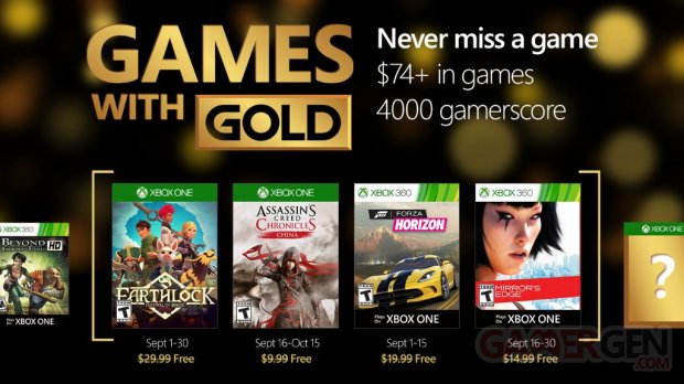 Xbox Live games with gold septembre 2016