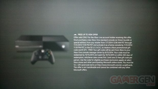 Xbox One promotion 75 $ 2