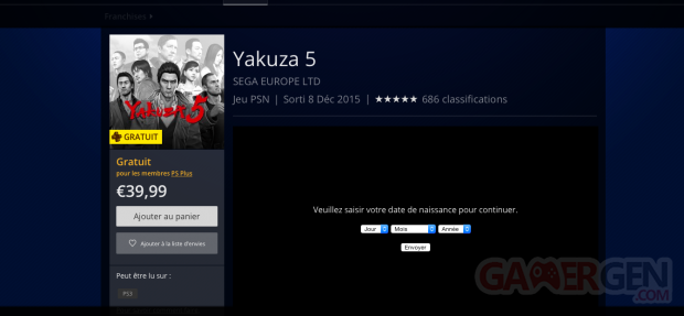 Yakuza 5 PlayStation Plus