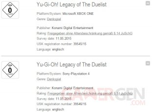 Yu Gi Oh Legacy of the Duelist USK