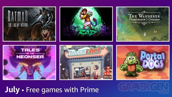 Amazon Prime Gaming juillet 2021.