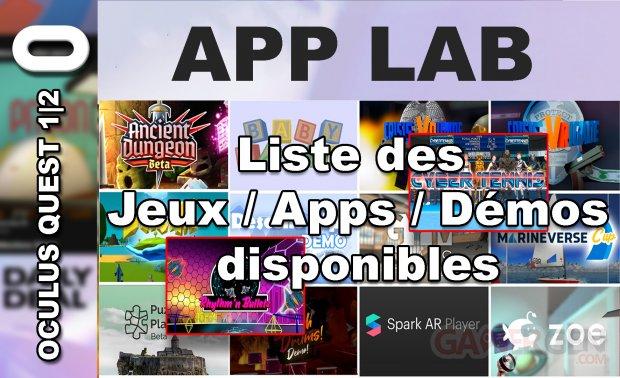 App Lab Liste jeux disponibles