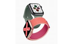 Apple watch series 5 gold aluminum case pomegranate band and space gray aluminum case pine green band 091019