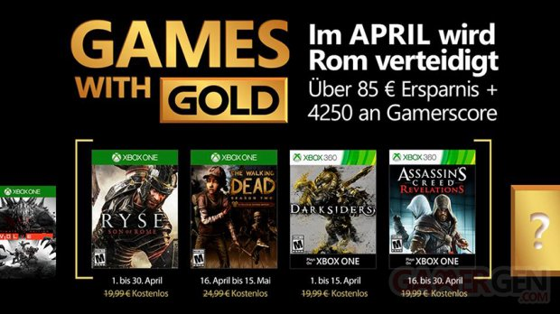 April Xbox Live Games With Gold